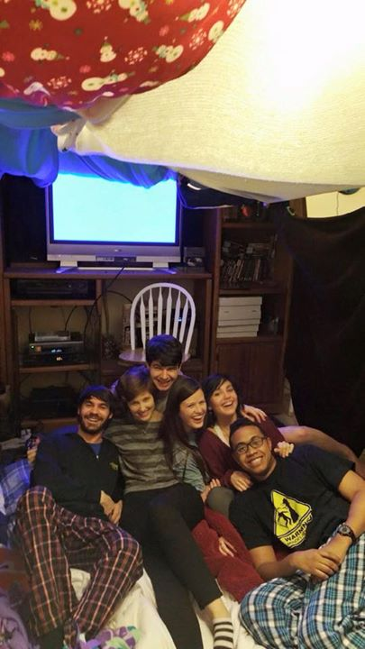 The group in our blanket fort